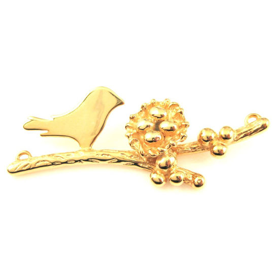 22K Gold plated 925 Sterling Silver, Mother and Baby Bird Branch and Nest Connector - 4 Eggs - 48mm