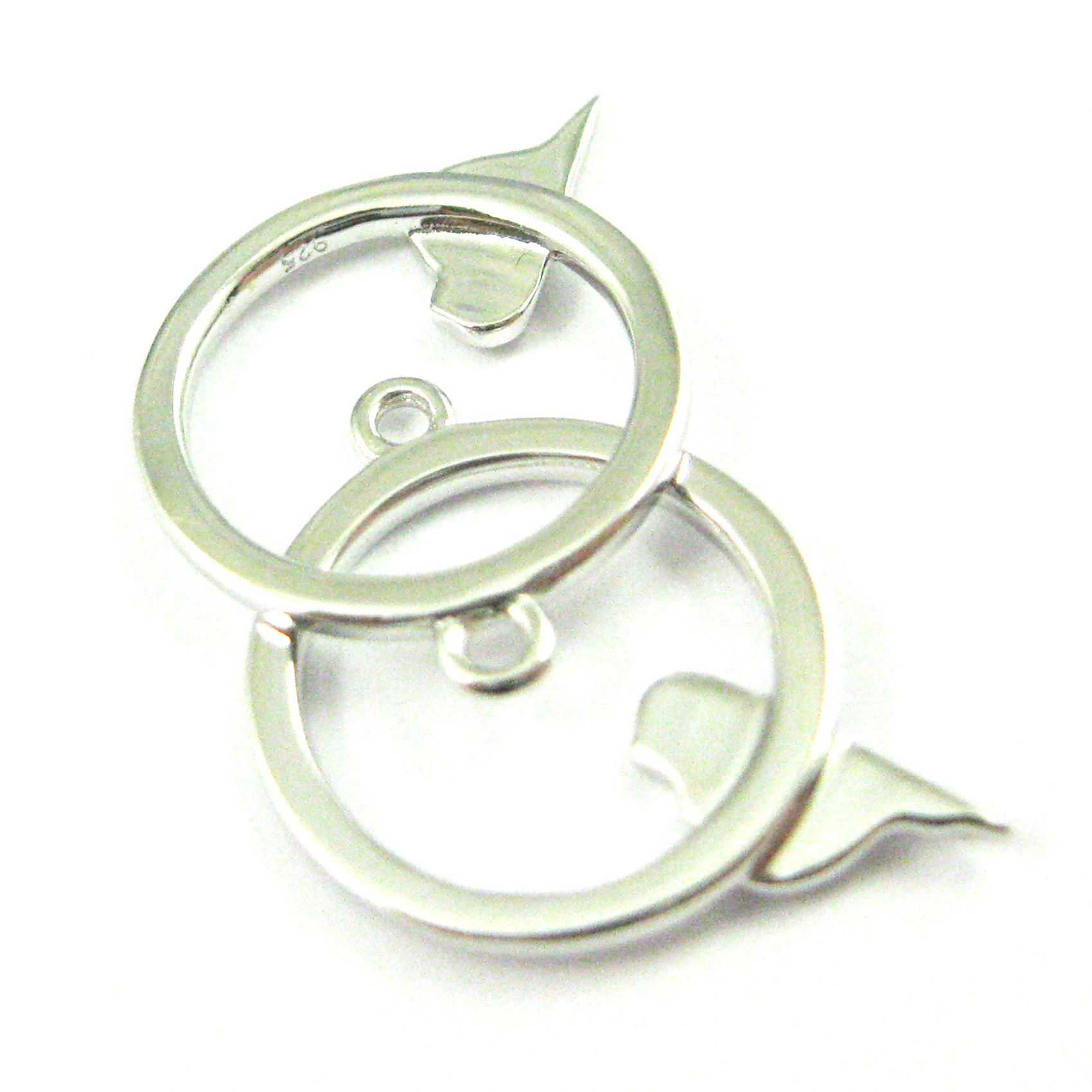 Rhodium plated Sterling Silver Bird Circle Charm, 18mm ( 2 pieces)