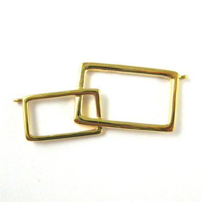 22K Gold plated 925 Sterling Silver Charm -Geometric Rectangle Connector-Interlocking Rectangle Connector Pendant High Polish Vermeil- 34mm ( 1 pc )