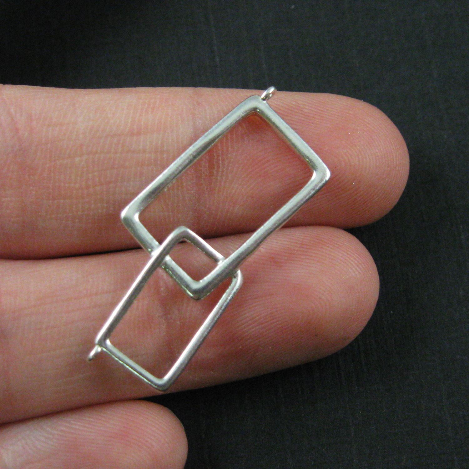 925 Sterling Silver Charm -Geometric Rectangle Connector-Interlocking Rectangle Connector Pendant - 34mm ( 1 pc )