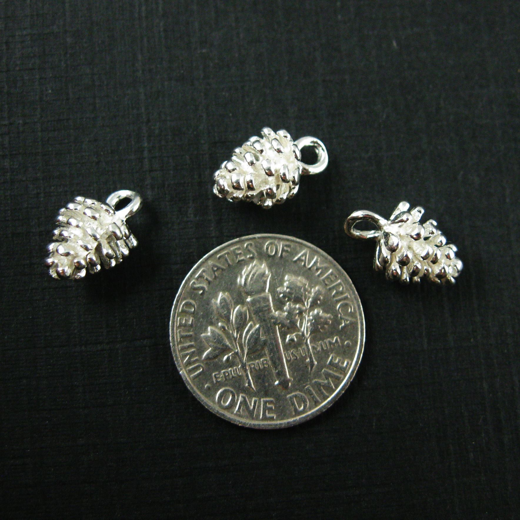 925 Sterling Silver Charm -Pine Cone Charm - Tiny Silver Pinecone Pendant - 11mm ( 2 pcs )