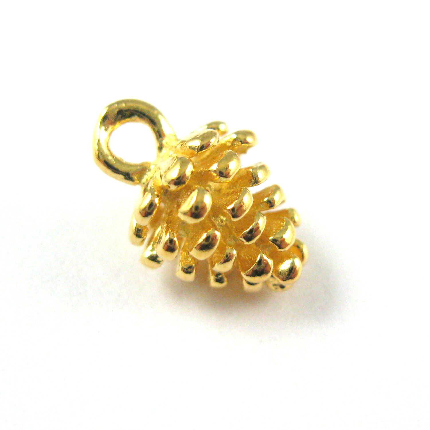 22K Gold plated 925 Sterling Silver Charm -Pine Cone Charm - Tiny Vermeil Pinecone Pendant - 11mm ( 2 pcs )