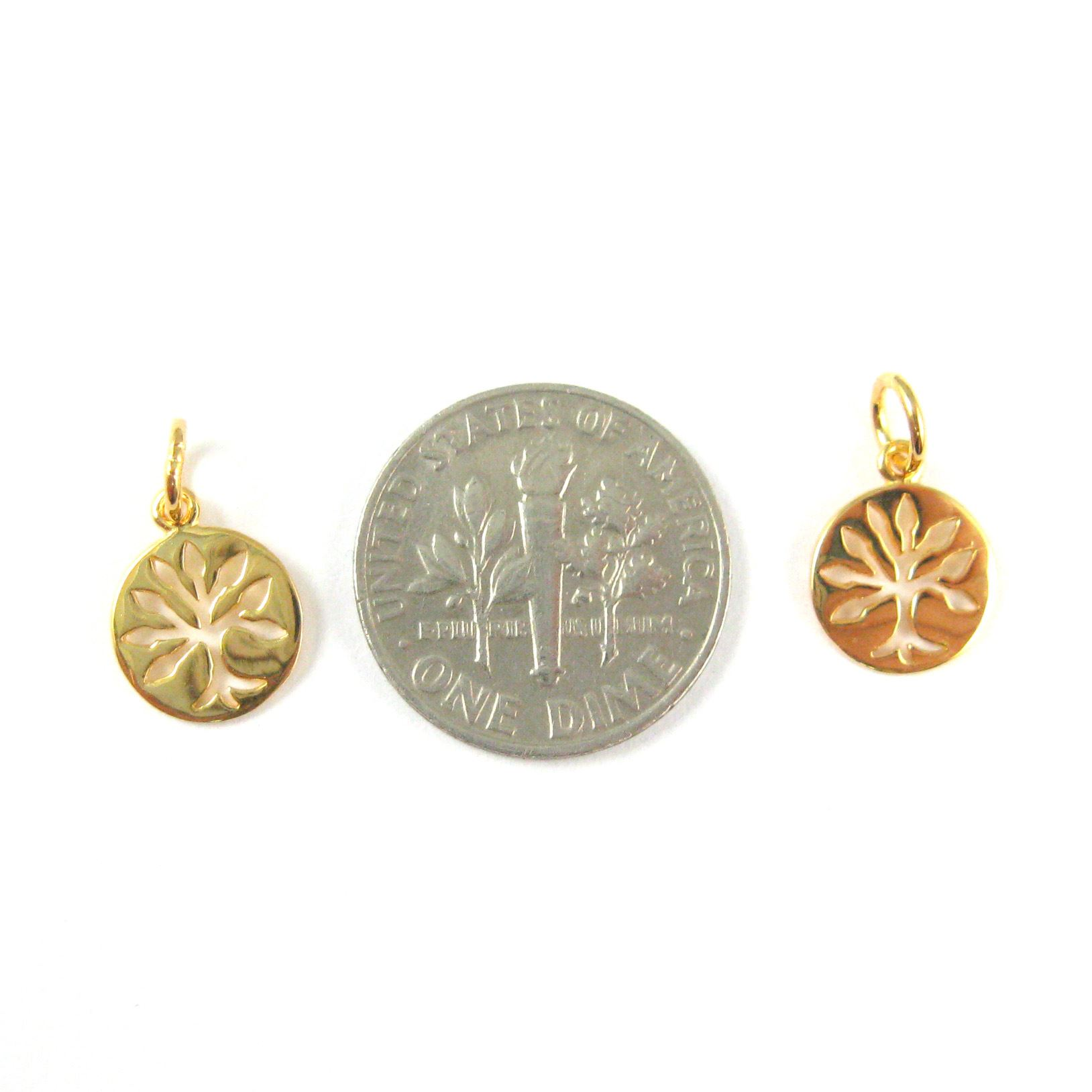 22K Gold plated 925 Sterling Silver Charm-Tree Charm - Tree of Life Coin Charm - High Polish Vermeil Tiny Tree Pendant-9mm ( 2 pcs )