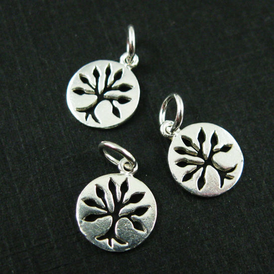 925 Sterling Silver Charm-Tree Charm - Tree of Life Coin Charm - Silver Tiny Tree Pendant-9mm  ( 2 pcs )