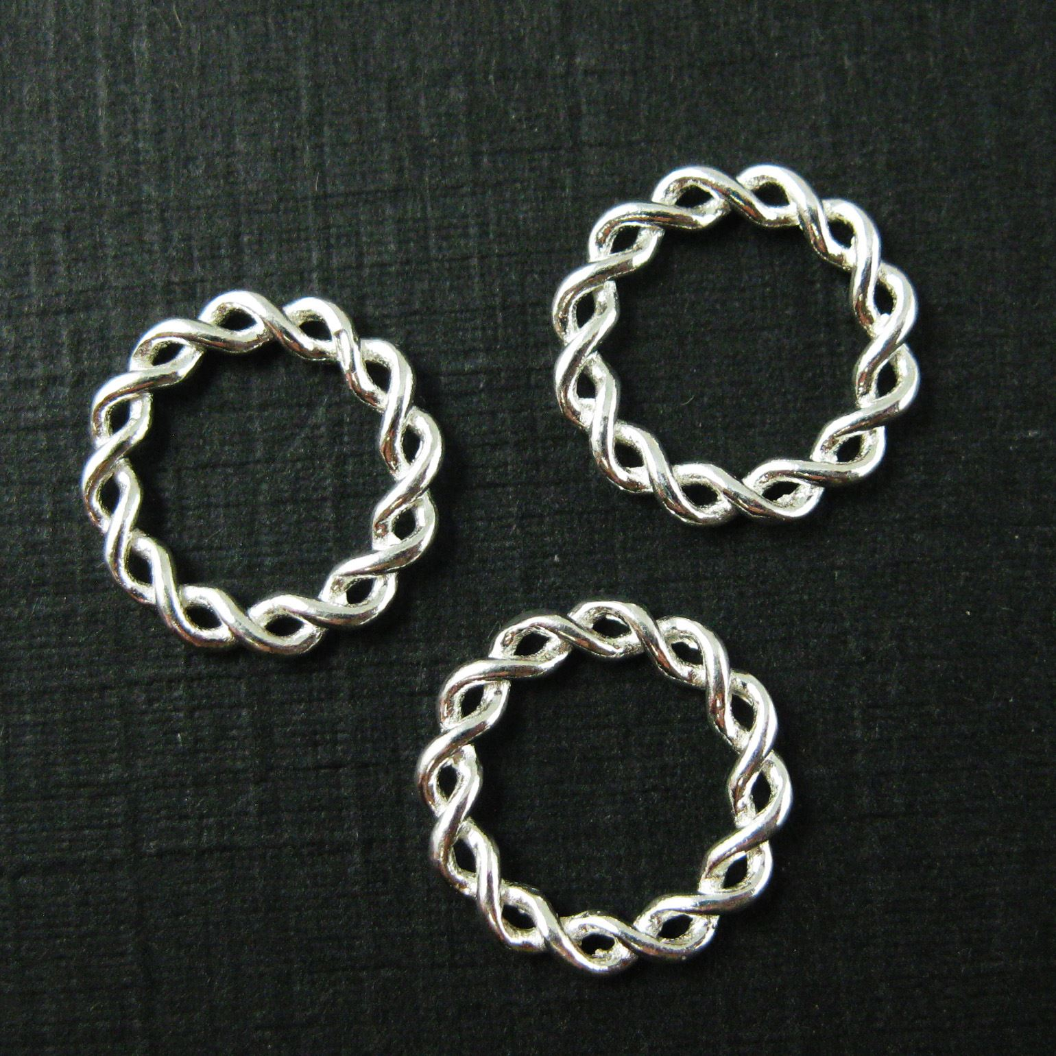 925 Sterling Silver Charm-Twisted Closed Connector Ring - Silver Twisted Ring Link Charm Pendant-11.5mm ( 3 pcs)