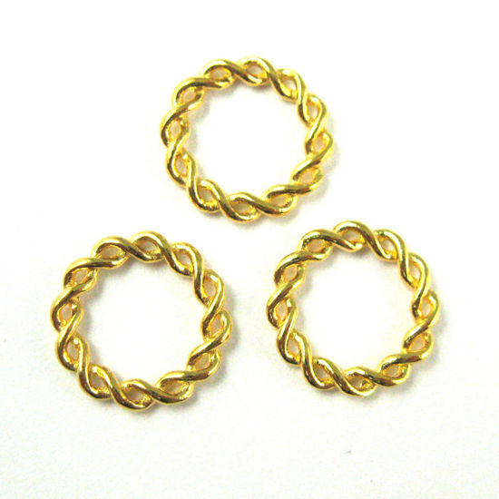 22K Gold plated 925 Sterling Silver Charm-Twisted Closed Connector Ring - High Polish Vermeil Twisted Ring Link Charm Pendant-11.5mm  ( 3 pcs)