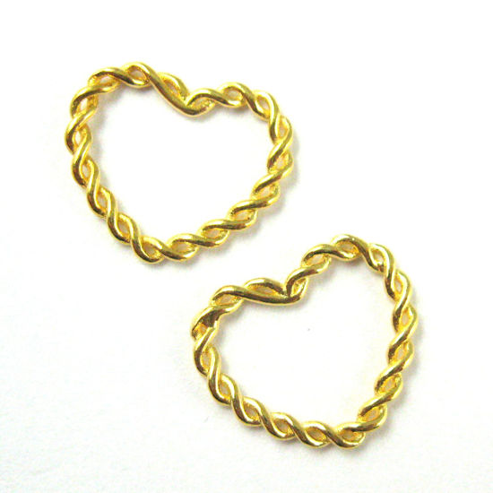 22K Gold plated 925 Sterling Silver Charm-Twisted Heart Closed Connector Ring - High Polish Vermeil Heart Link Charm Pendant-12mm  ( 3 pcs)