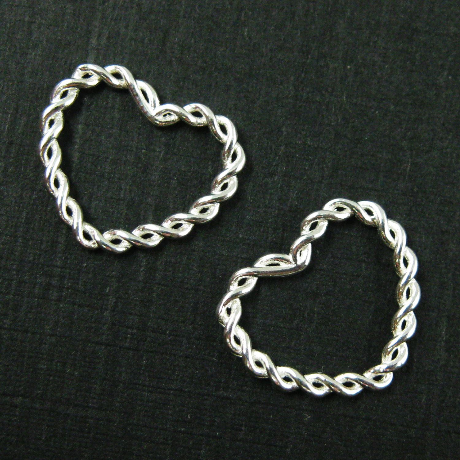 925 Sterling Silver Charm-Twisted Heart Closed Connector Ring - Silver Heart Link Charm Pendant-12mm   ( 3 pcs)