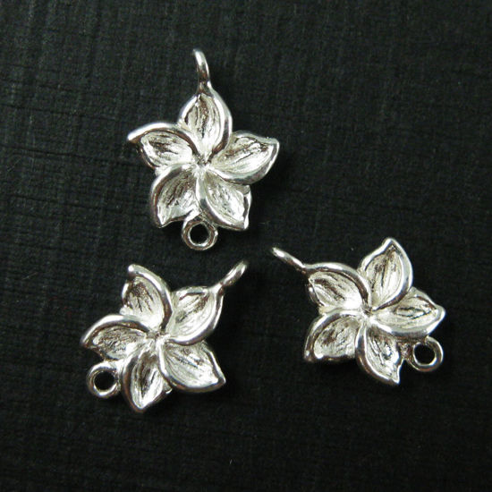 925 Sterling Silver Charm-Silver Fragapani Flower Charm- Silver Link Connector-11mm  ( 5 pcs)