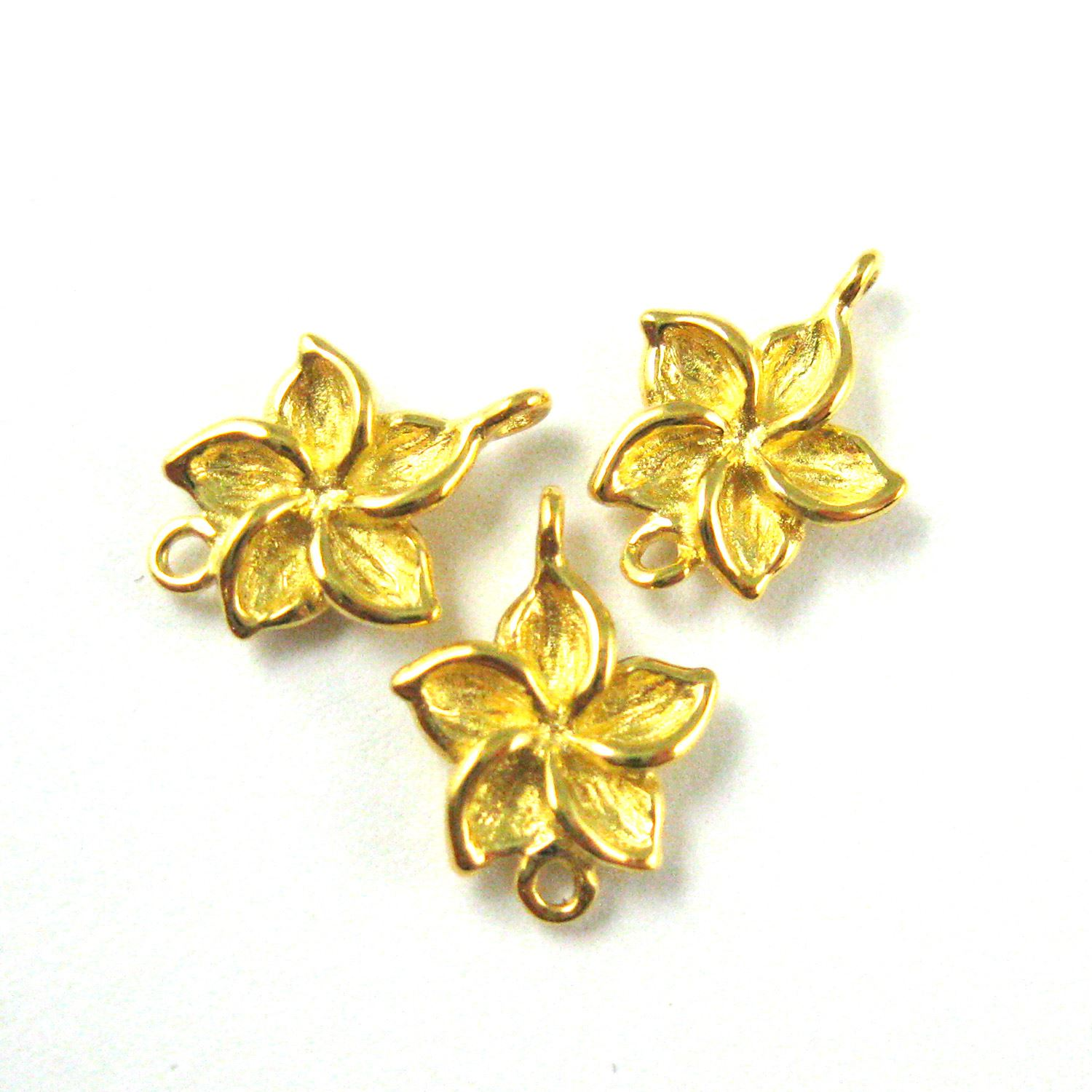 22K Gold plated 925 Sterling Silver Charm-Gold Fragapani Flower Charm- High Polish Vermeil Link Connector-11mm  ( 3 pcs)