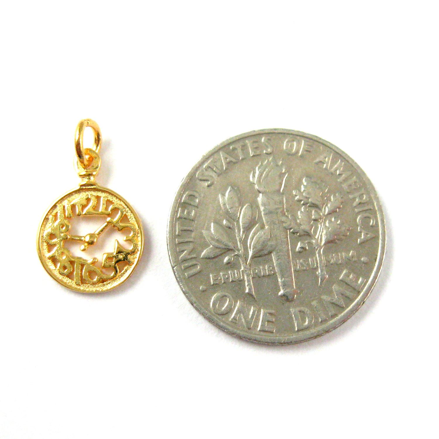 22K Gold plated 925 Sterling Silver Charm-High Polish Vermeil Clock Charm- Tiny Gold Pocket Watch Charm -8mm (2 pcs)