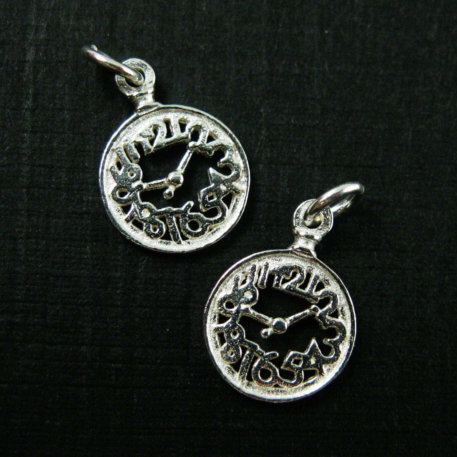 925 Sterling Silver Charm-Silver Clock Charm- Tiny Silver Pocket Watch Charm -8mm (2 pcs)
