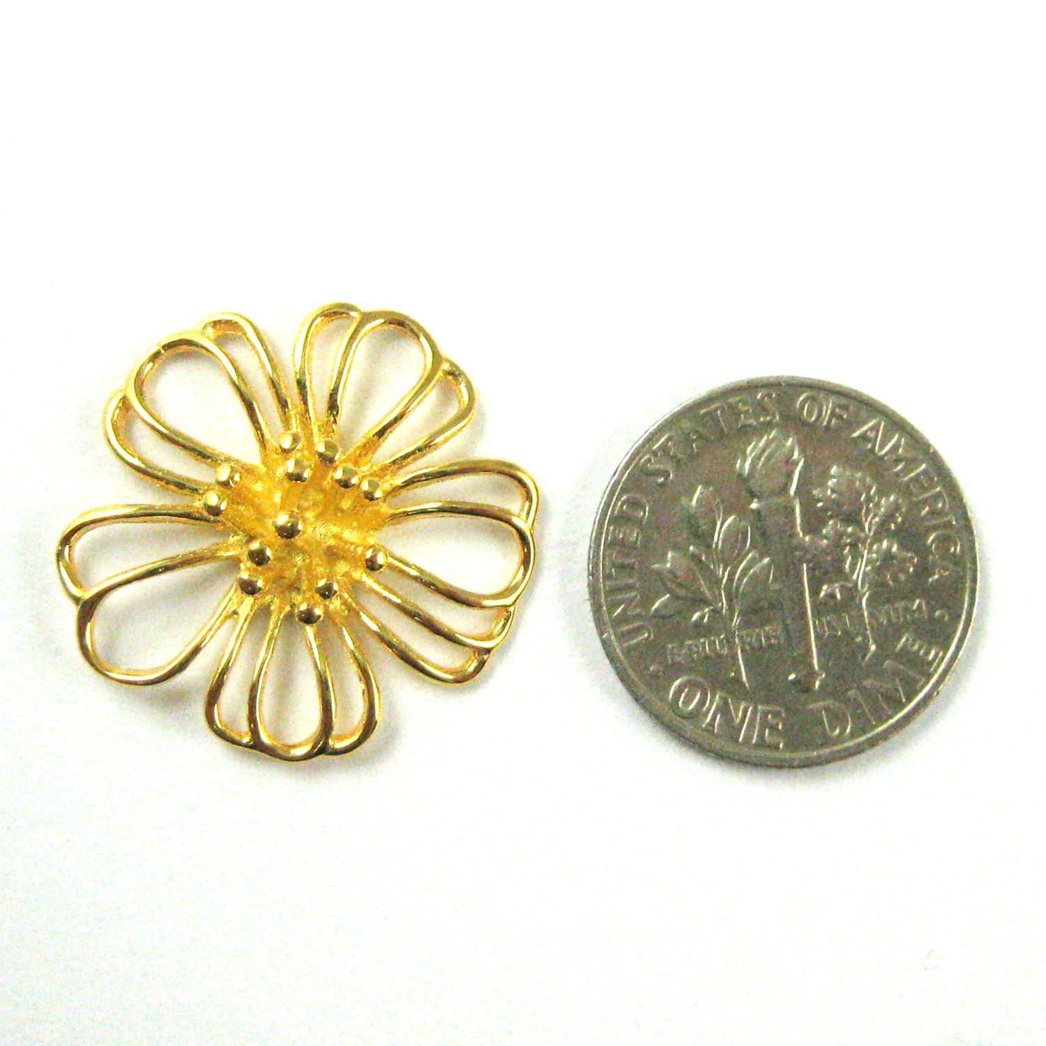 22K Gold plated 925 Sterling Silver Charm-Large Flower Charm Connector -Gold Vermeil Buttercup Flower Pendant- 20mm (1 pc)