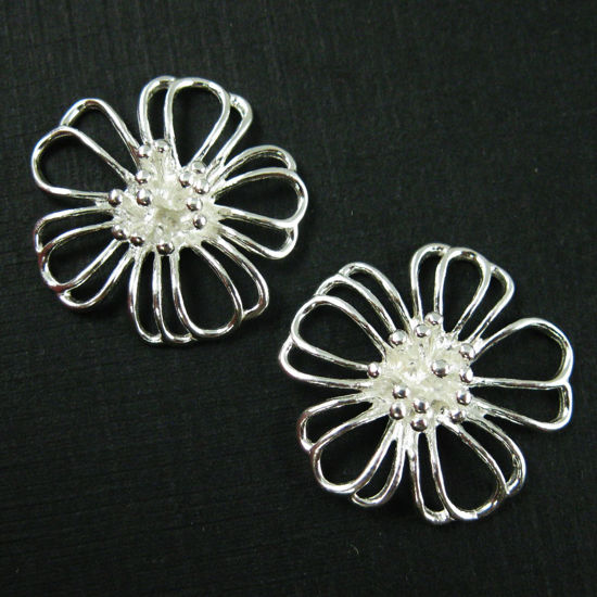 925 Sterling Silver Charm-Large Sterling Silver Flower Charm Connector -Silver Buttercup Flower Pendant- 20mm (1 pc)