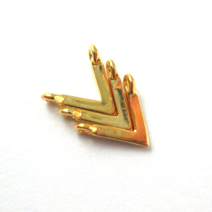 22K Gold plated 925 Sterling Silver Charm-Gold Chevron Point Charm - Gold Triangle Point Charm Connector- 6.5mm (3 pc)