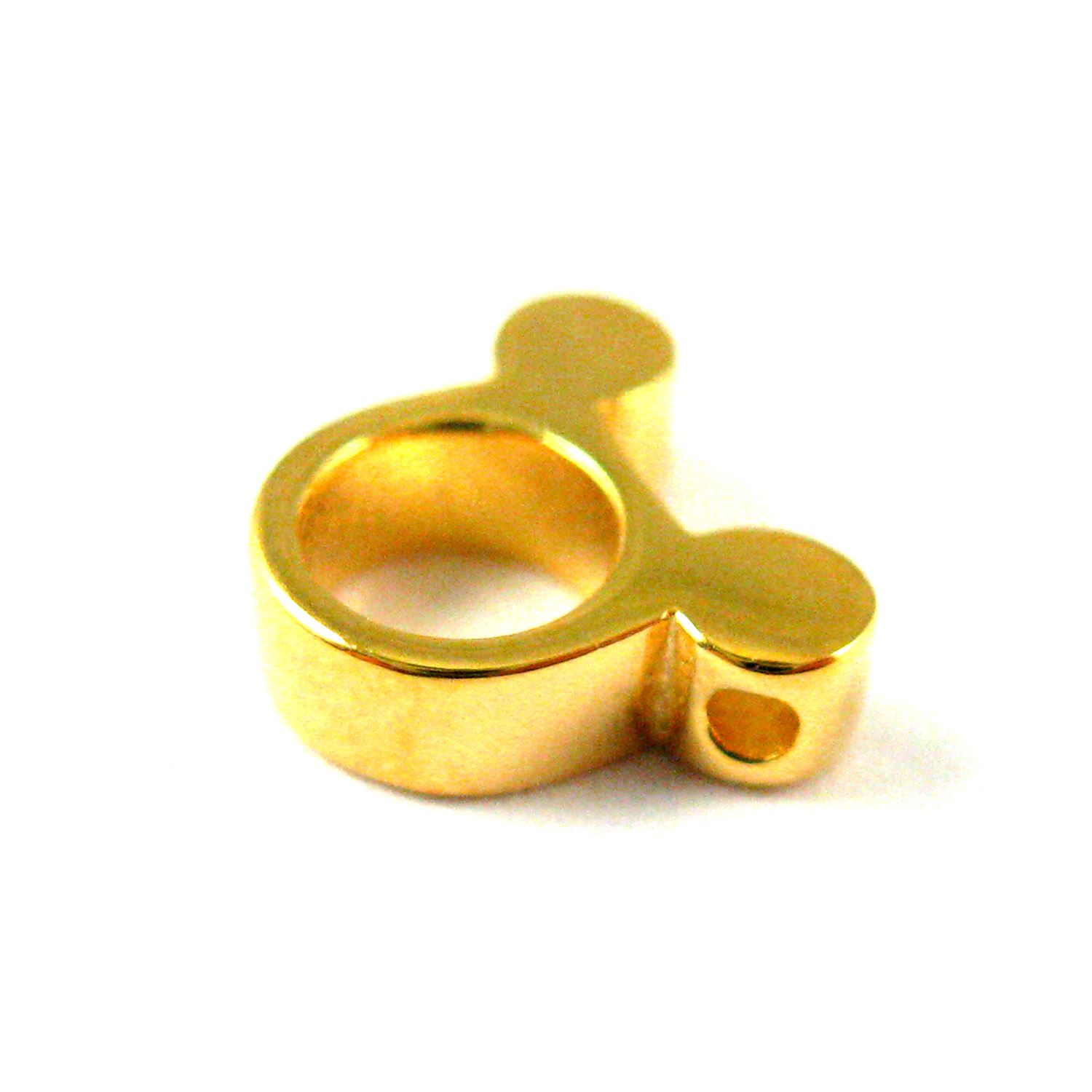 22K Gold plated 925 Sterling Silver Charm-Gold Mouse Ears Charm- Popular Mouse Bead- 9mm ( 2 pc)