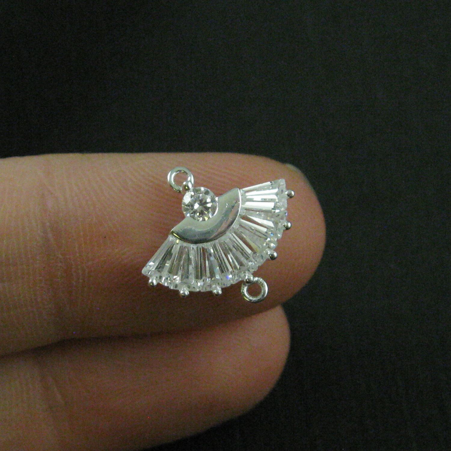 925 Sterling Silver Charm-CZ Cubic Zirconia Oriental Hand Fan Connector- Silver Connector Link- 13mm ( 1 pc)