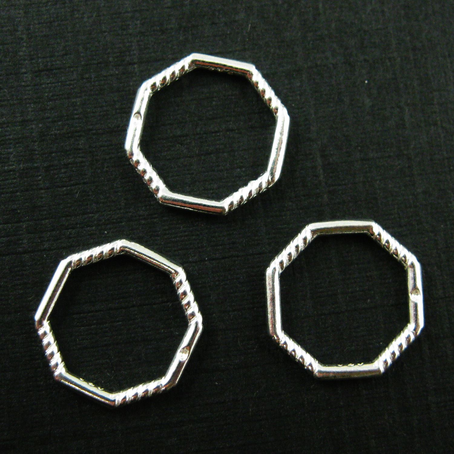 925 Sterling Silver Charm Connector- Silver Octagon Twisted and Smooth Rings- Closed Ring Connector-Silver Links- 11mm ( 3 pcs)
