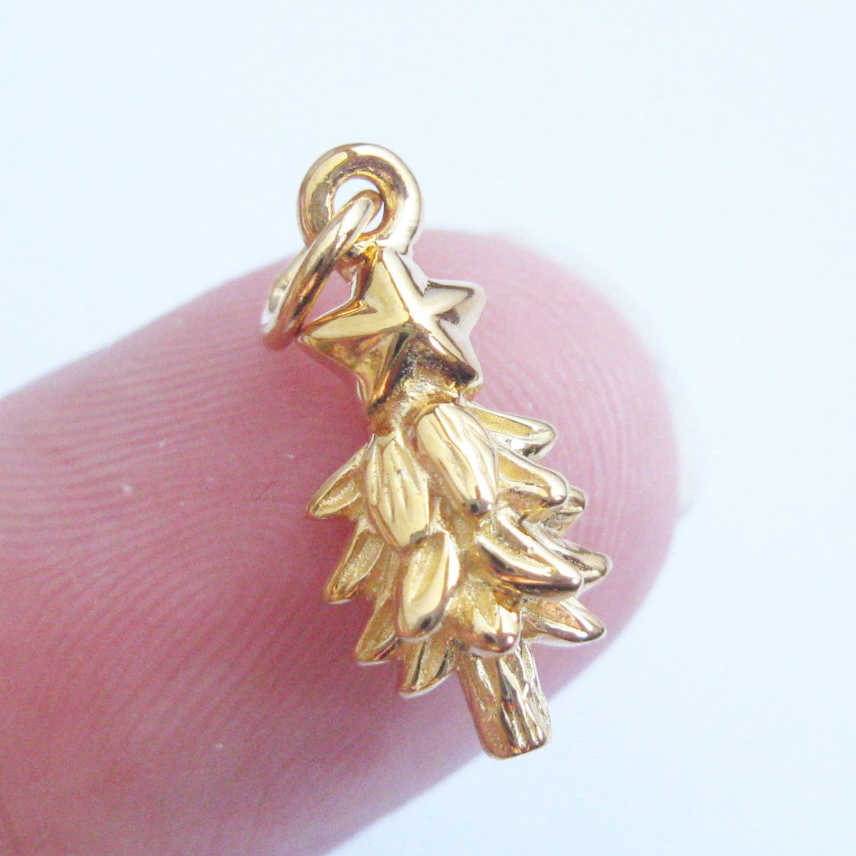 22K Gold plated Sterling Silver Charms, Vermeil Christmas Tree Charm- Holiday Charms - 15.5mm ( 2 pcs)