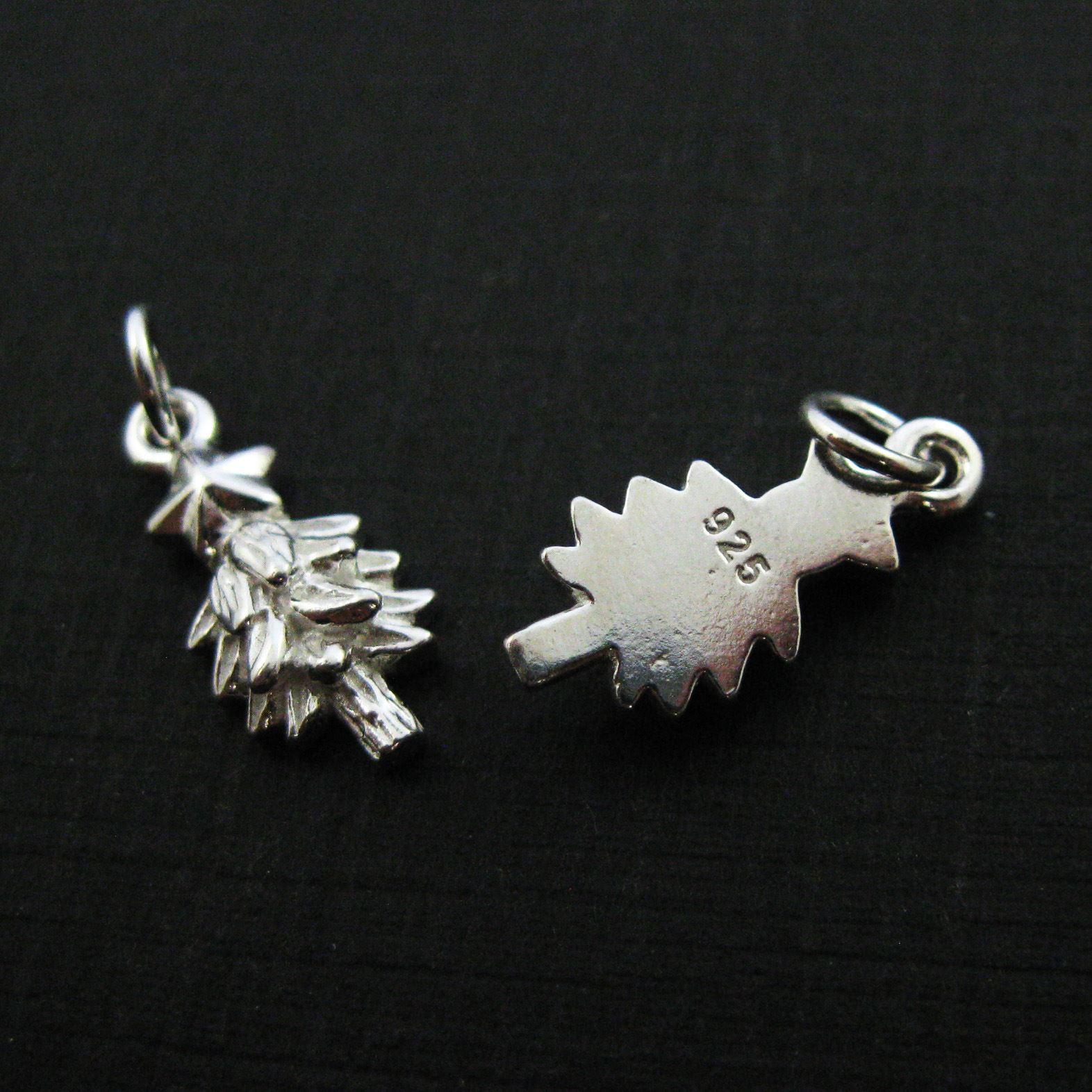 Sterling Silver Charms, 925 Sterling Silver Christmas Tree Charm- Holiday Charms - 15.5mm ( 2 pcs)