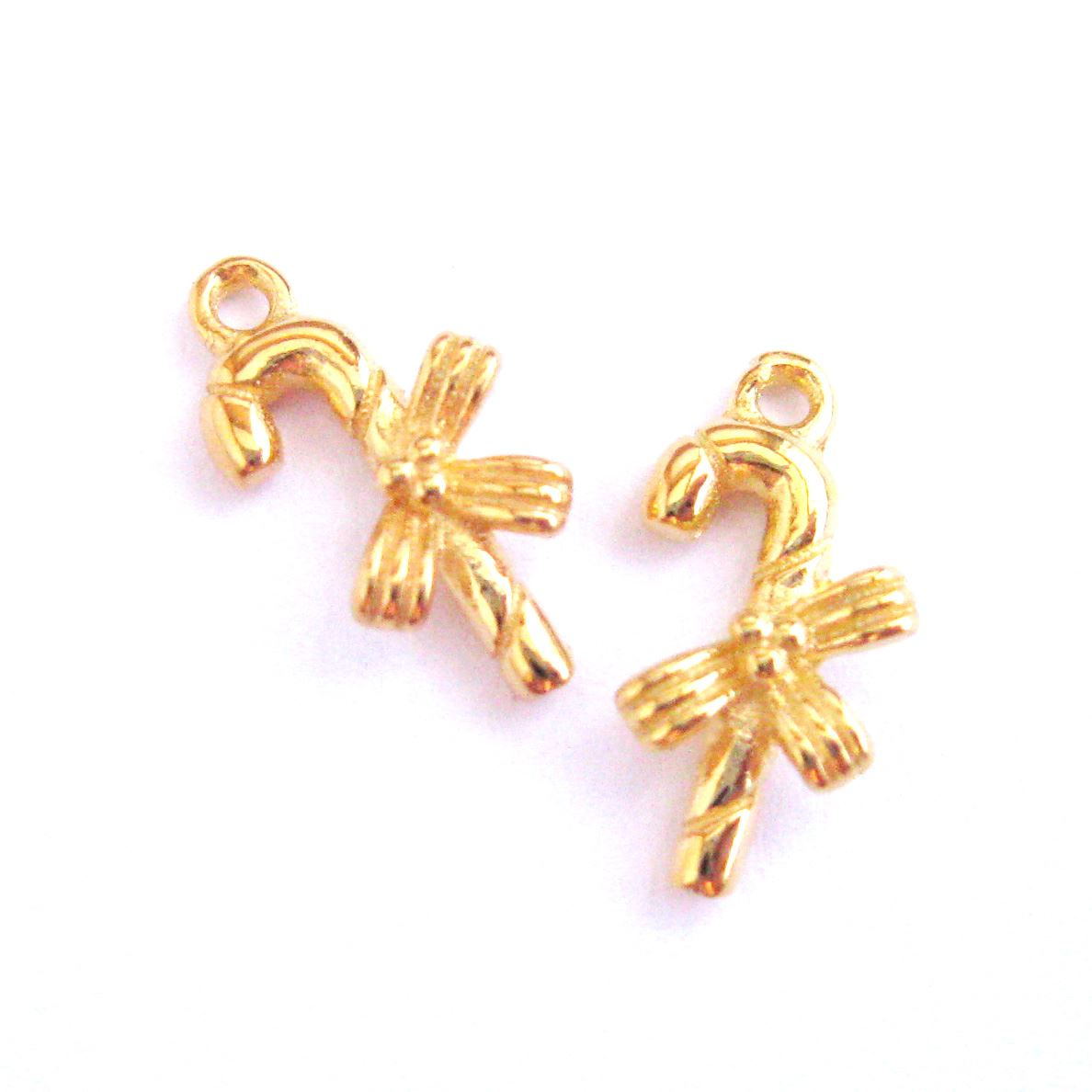 22K Gold plated Sterling Silver Charms, 925 Sterling Silver Candy Cane Charm- Holiday Charm - 12mm ( 2 pcs)