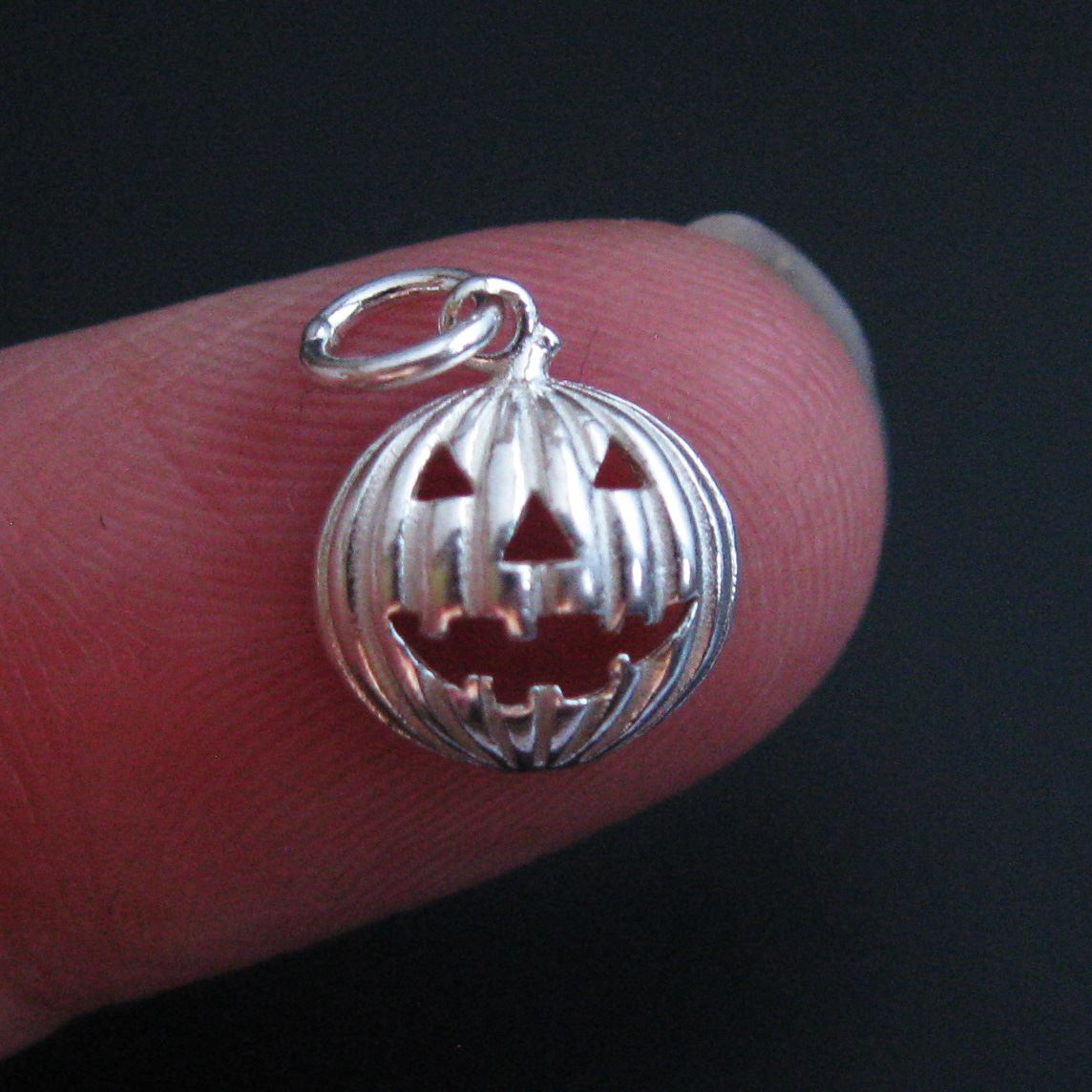 925 Sterling Silver Rounded Pumpkin Charm- Silver Jack-0-Lantern Charm -Halloween Charms - 9.5mm ( 1 pc)