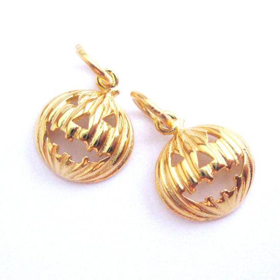 22k Gold plated 925 Sterling Silver Rounded Pumpkin Charm- Vermeil Jack-0-Lantern Charm -Halloween Charms - 9.5mm (1 pc)