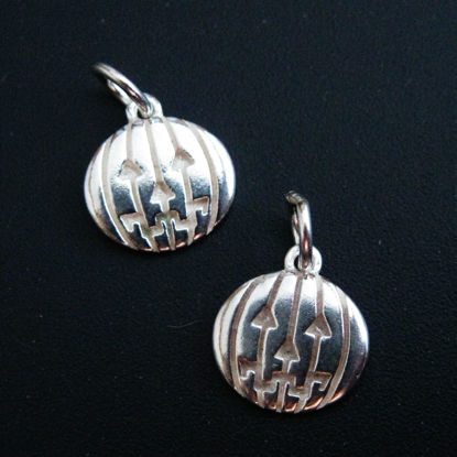 925 Sterling Silver Pumpkin Charm Disc- Silver Jack-0-Lantern Charm -Halloween Charms - 9.5mm (1 pc)