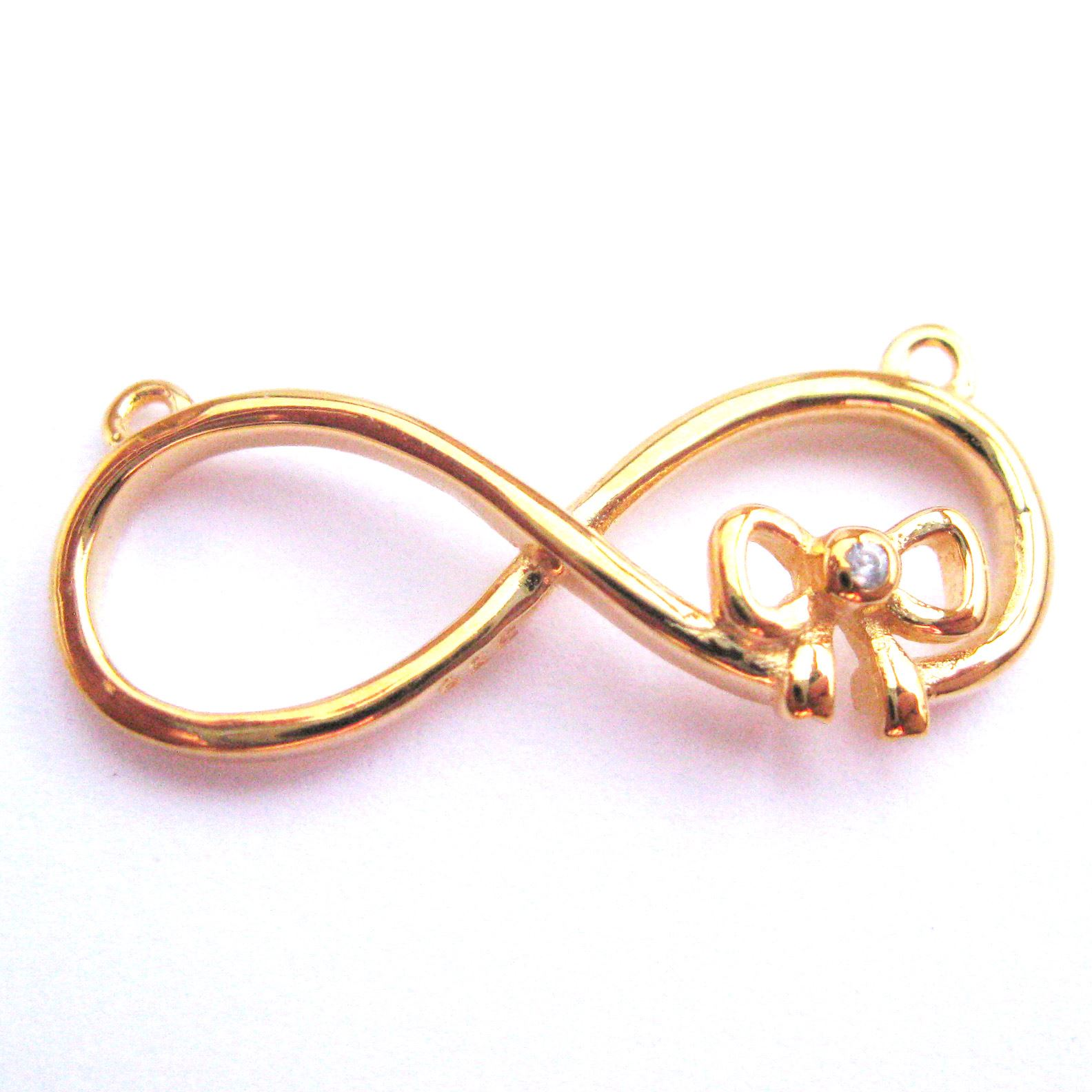 22K Gold plated Sterling Silver Charms, Large Infinity Connecor with CZ Cubic Zirconia Bow Pendant ( sold per 1 piece)