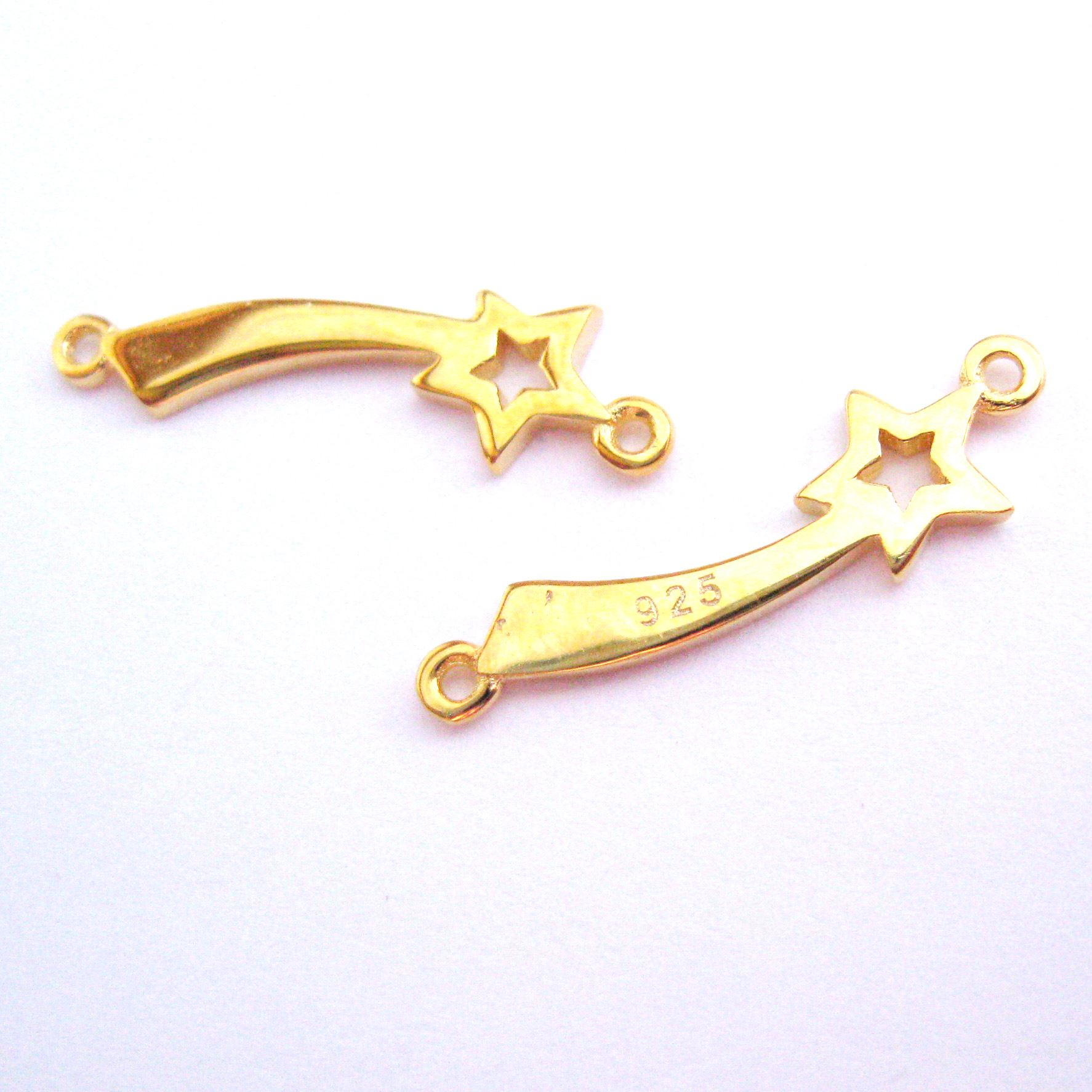 22K Gold plated Sterling Silver Shooting Star Connector Pendant - Shooting Star Charm -18.5mm (1 pc)