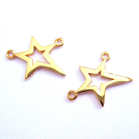 22K Gold plated Sterling Silver Tiny Star Connector Pendant - Vermeil Star Charm - 18.5mm (1 pc)
