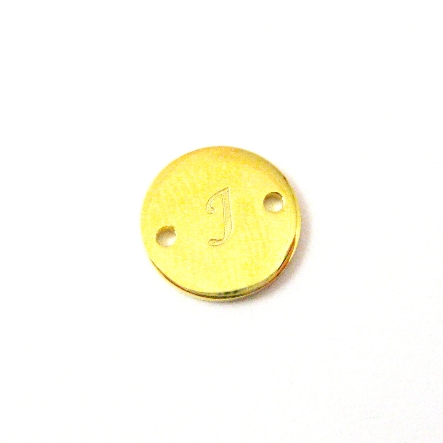 22K Gold plated Sterling Silver Smooth A-Z Initial Stamped Round Connector Tag- High Polish Vermeil