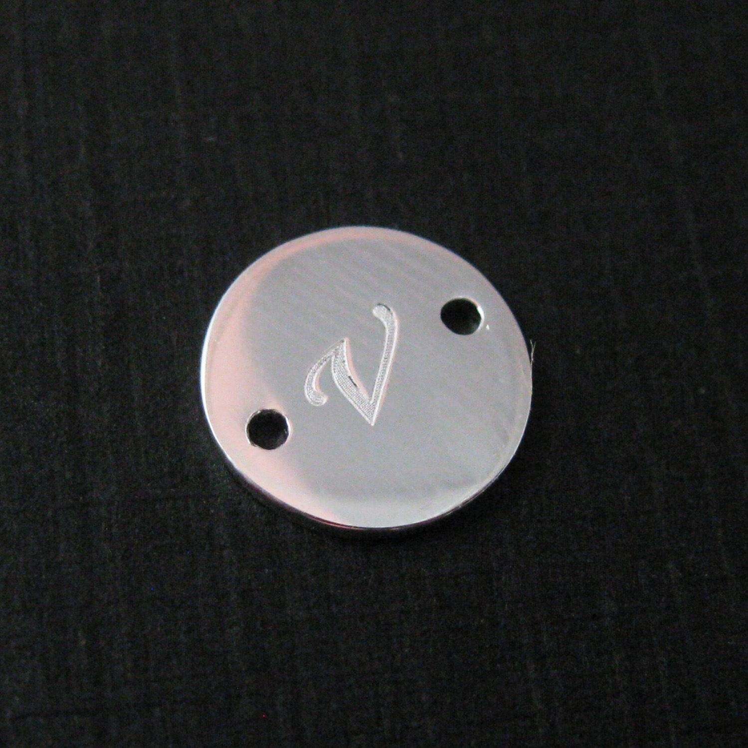 Sterling Silver Smooth A-Z Initial Stamped Round Connector Tag- High Polish Silver