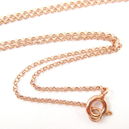Rose Gold plated 925 Sterling Silver Chain, Necklace, Bracelet. Anklet - Vermeil 1mm Rolo Chain- Rolo Chain Necklace for Pendant - All Sizes