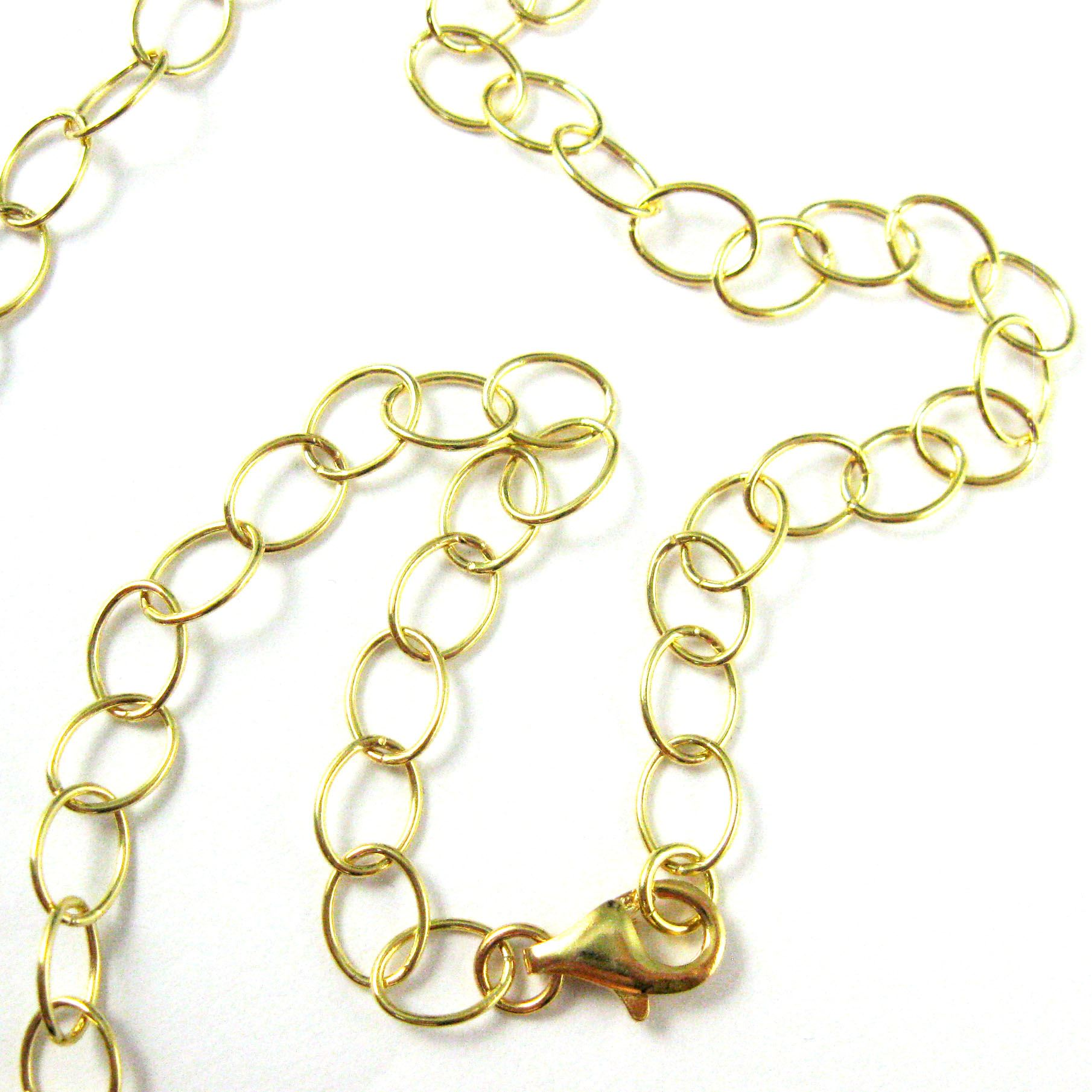 22K Gold plated Sterling Silver Vermeil Chain - 8x6mm Round Oval Cable -All Sizes