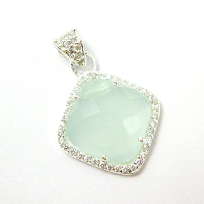 Sterling Silver Pave Bezel Gemstone Pendant - Cubic Zirconia Pave Setting -  Diamond Shape Faceted Stone-Aqua Chalcedony - 17mm