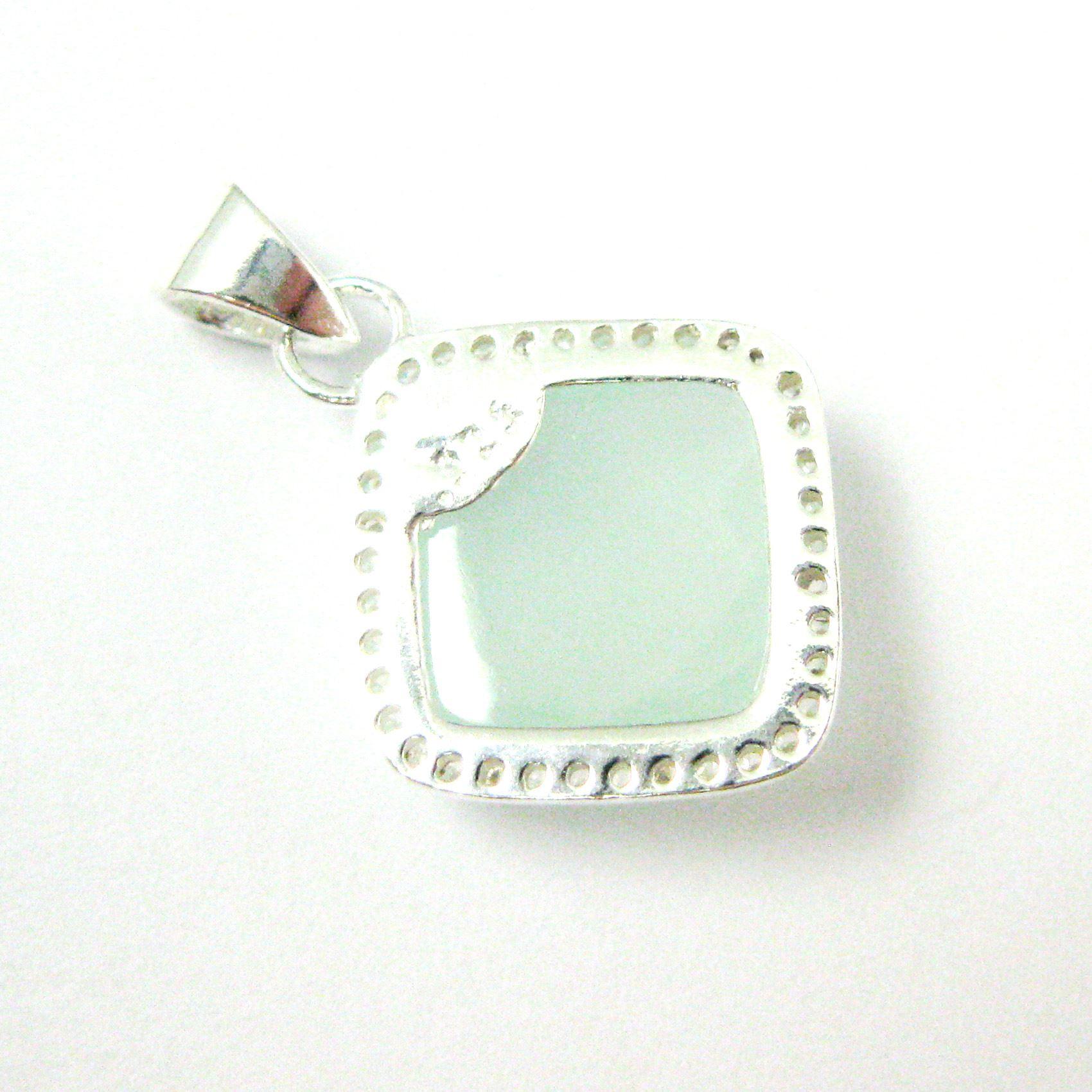 Sterling Silver Pave Bezel Gemstone Pendant - Cubic Zirconia Pave Setting -  Diamond Shape Faceted Stone-Aqua Chalcedony - 17mm