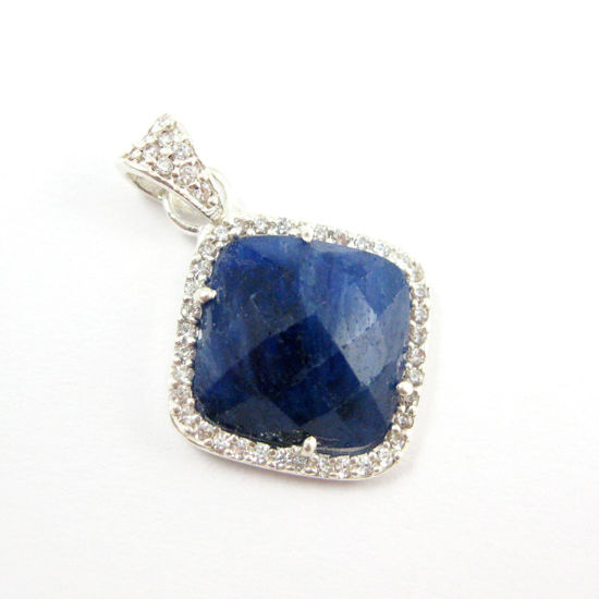 Sterling Silver Pave Bezel Gemstone Pendant - Cubic Zirconia Pave Setting -  Diamond Shape Faceted Stone-Blue Sapphire Dyed - 17mm