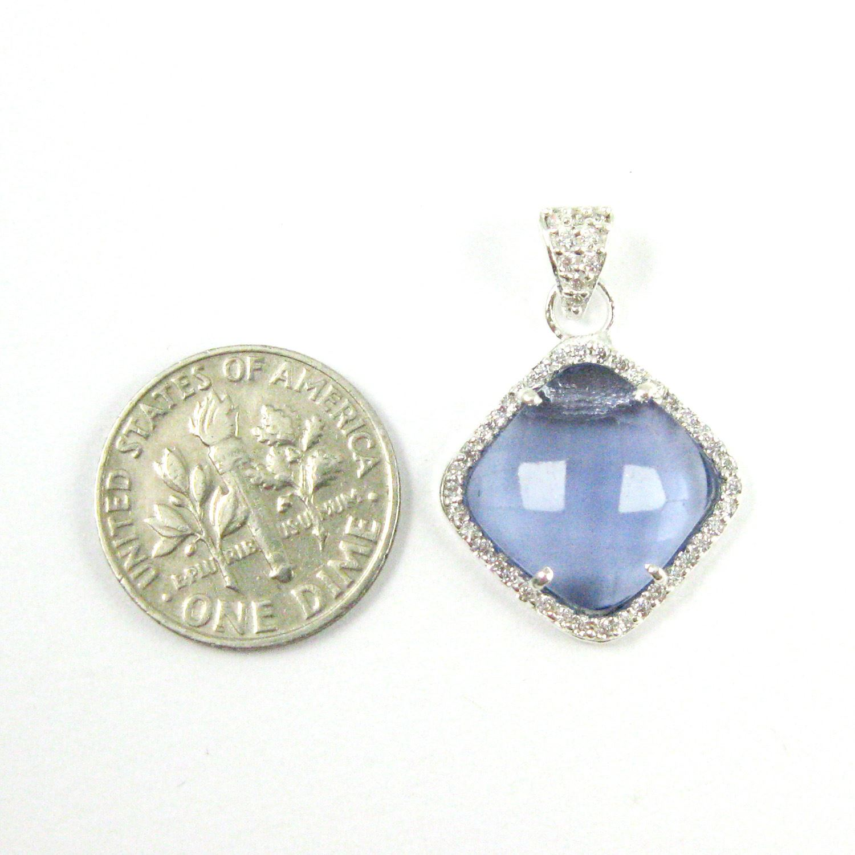 Sterling Silver Pave Bezel Gemstone Pendant - Cubic Zirconia Pave Setting -  Diamond Shape Faceted Stone-Iolite Quartz- 17mm