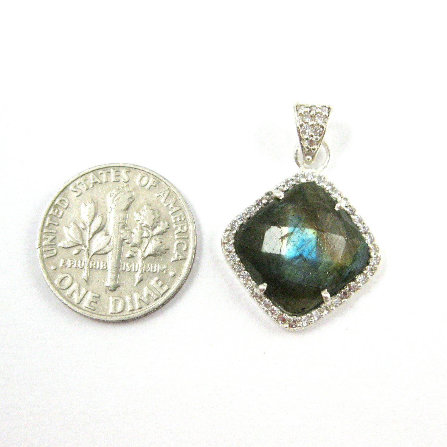 Sterling Silver Pave Bezel Gemstone Pendant - Cubic Zirconia Pave Setting -  Diamond Shape Faceted Stone-Labradorite- 17mm