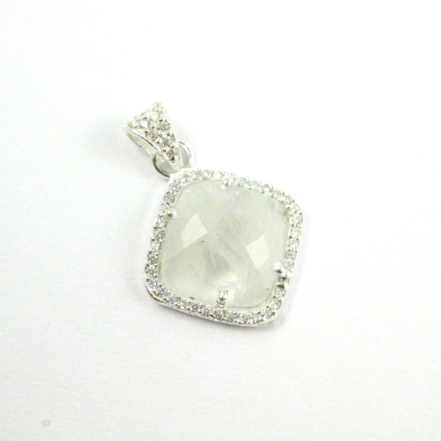 Sterling Silver Pave Bezel Gemstone Pendant - Cubic Zirconia Pave Setting -  Diamond Shape Faceted Stone-Moonstone- 17mm