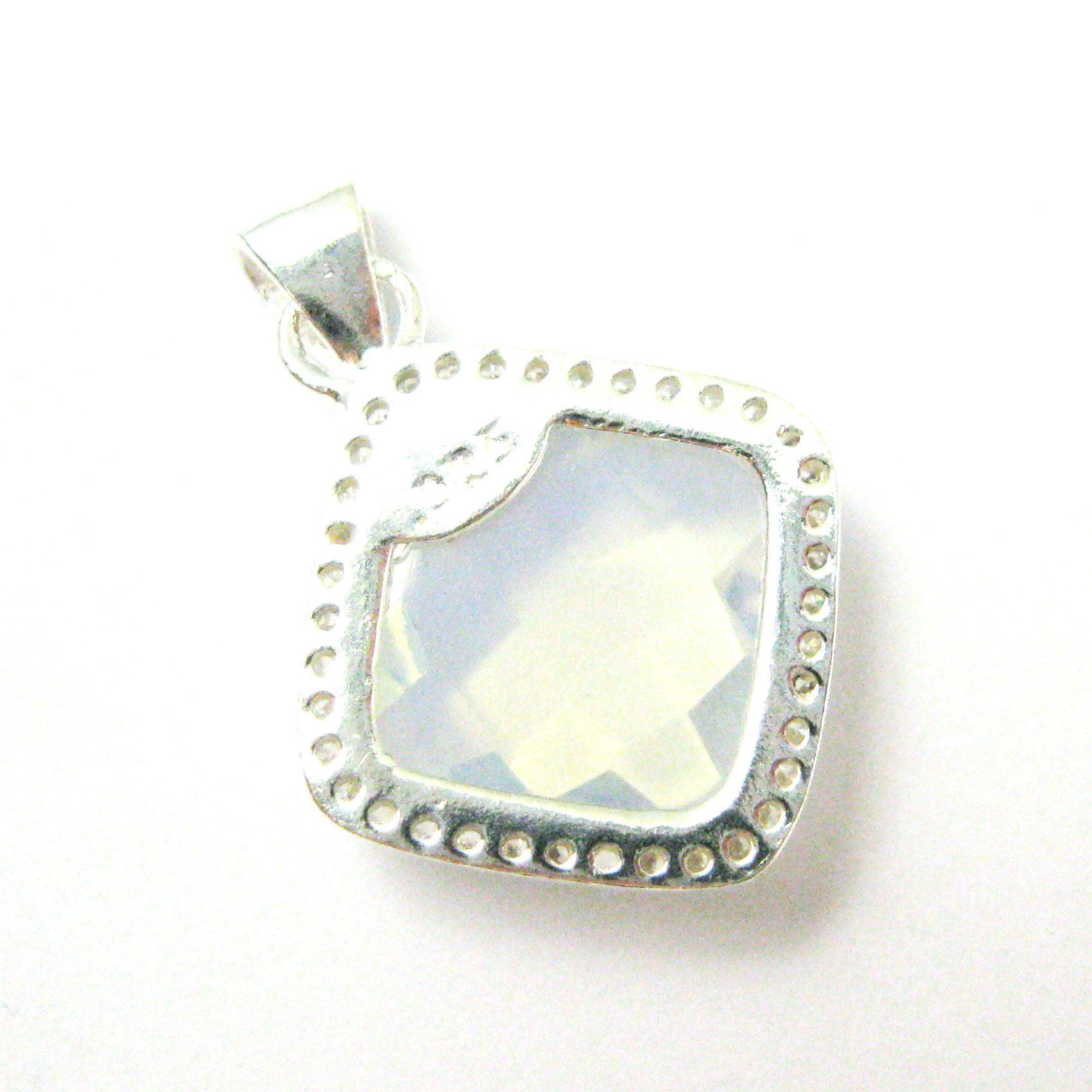 Sterling Silver Pave Bezel Gemstone Pendant - Cubic Zirconia Pave Setting -  Diamond Shape Faceted Stone-Opalite Quartz- 17mm
