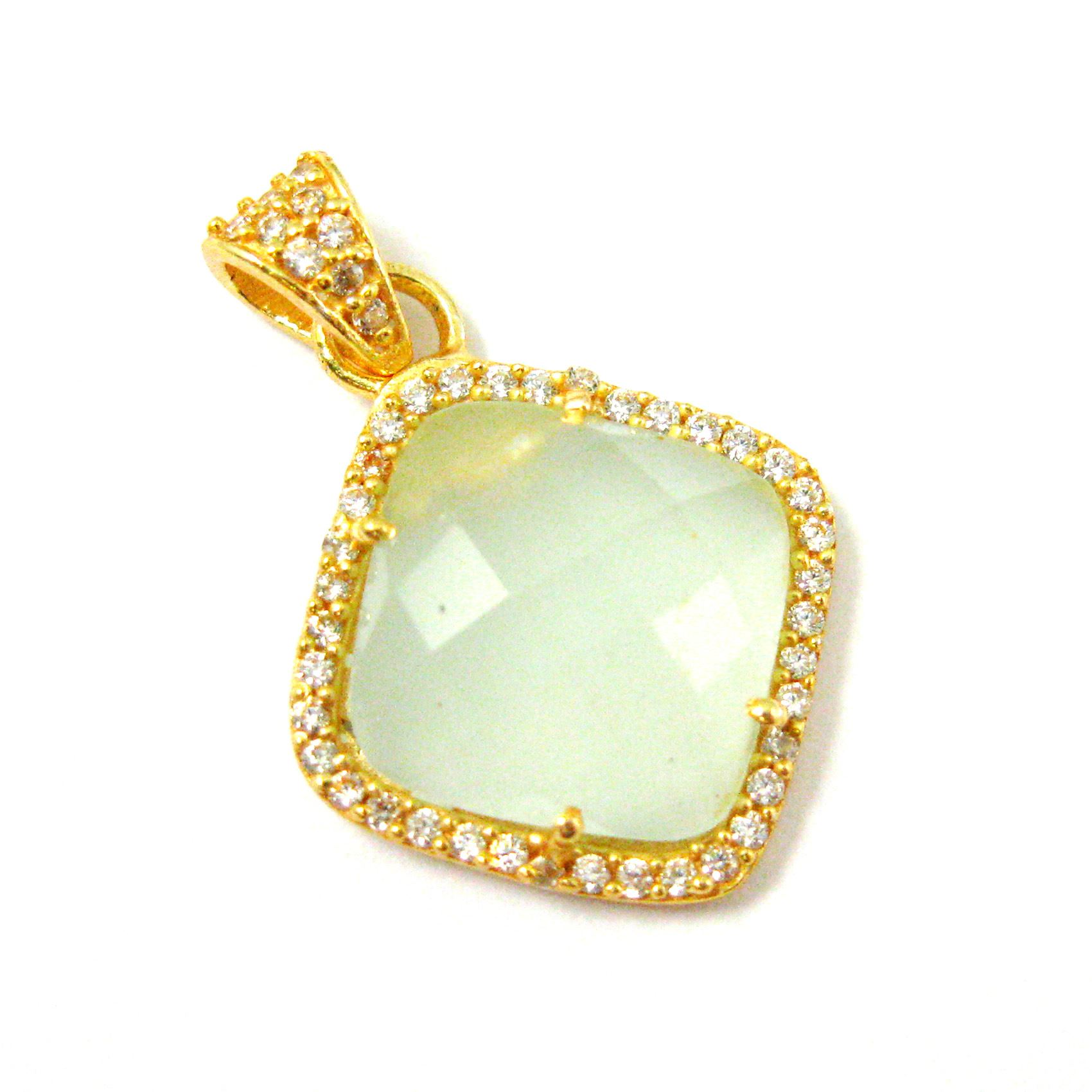 Gold plated Sterling Silver Pave Bezel Gemstone Pendant - Cubic Zirconia Pave Setting -  Diamond Shape Faceted Stone-Aqua Chalcedony - 17mm