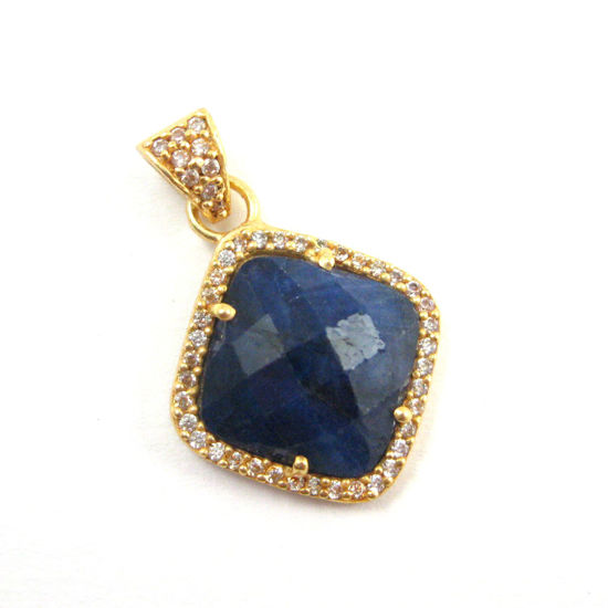 Gold plated Sterling Silver Pave Bezel Gemstone Pendant - Cubic Zirconia Pave Setting -  Diamond Shape Faceted Stone- Blue Sapphire Dyed - 17mm