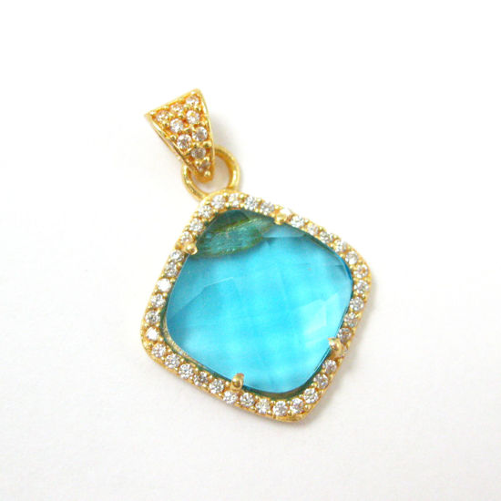 Gold plated Sterling Silver Pave Bezel Gemstone Pendant - Cubic Zirconia Pave Setting -  Diamond Shape Faceted Stone- Blue Topaz Quartz - 17mm