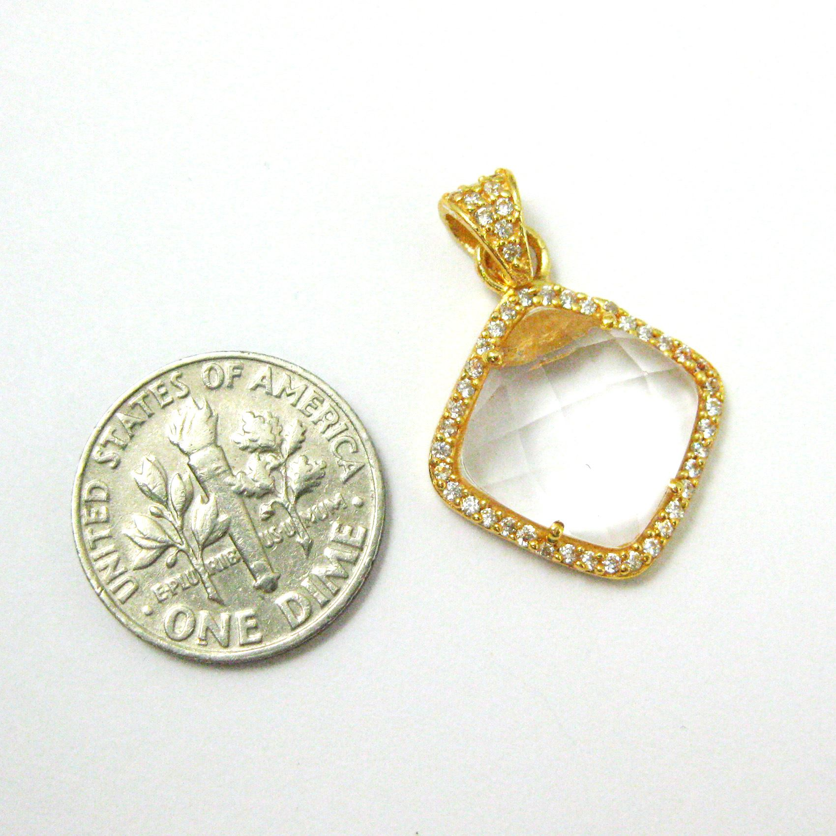 Gold plated Sterling Silver Pave Bezel Gemstone Pendant - Cubic Zirconia Pave Setting -  Diamond Shape Faceted Stone- Crystal Quartz - 17mm