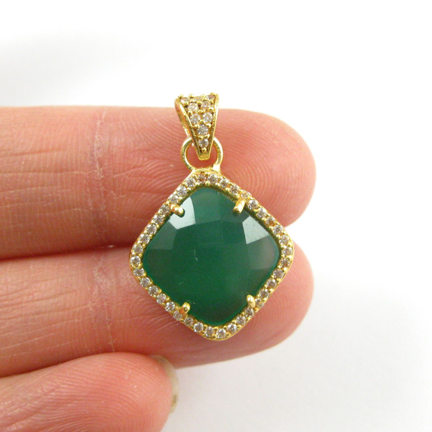 Gold plated Sterling Silver Pave Bezel Gemstone Pendant - Cubic Zirconia Pave Setting -  Diamond Shape Faceted Stone- Green Onyx - 17mm
