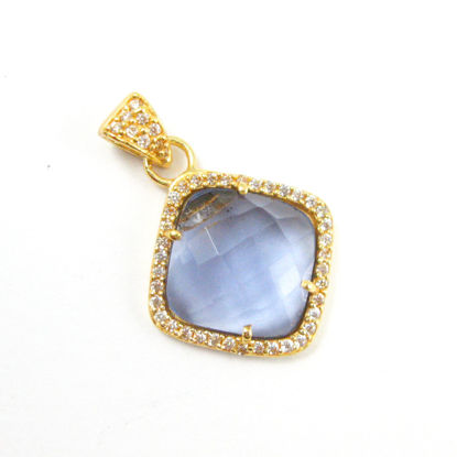 Gold plated Sterling Silver Pave Bezel Gemstone Pendant - Cubic Zirconia Pave Setting -  Diamond Shape Faceted Stone- Iolite Quartz - 17mm