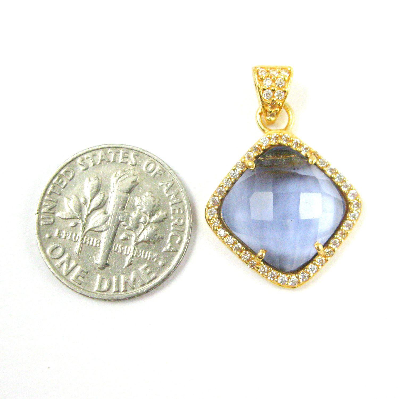 Gold plated Sterling Silver Pave Bezel Gemstone Pendant - Cubic Zirconia Pave Setting -  Diamond Shape Faceted Stone- Iolite Quartz - 17mm