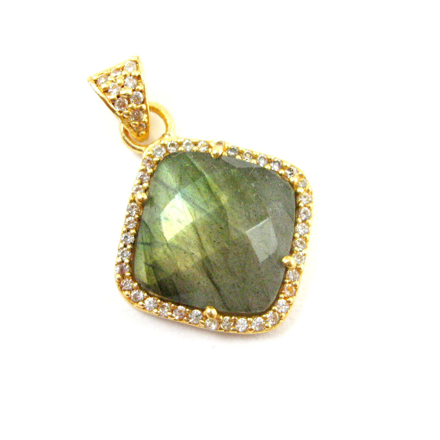 Gold plated Sterling Silver Pave Bezel Gemstone Pendant - Cubic Zirconia Pave Setting -  Diamond Shape Faceted Stone- Labradorite - 17mm